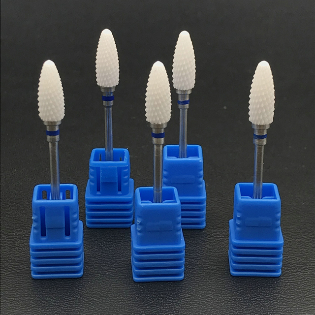 5pcs Dental Lab Bullet Shape Zirconia Ceramic Burs Drills for Micro Motor Polisher