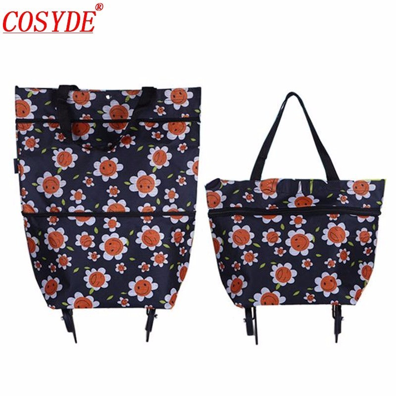 New Women Portable Foldable Shopping Bag On Wheels High Capacity Vegetable Market Bag Large Shopping Bags Reusable Trolley Bag(China)