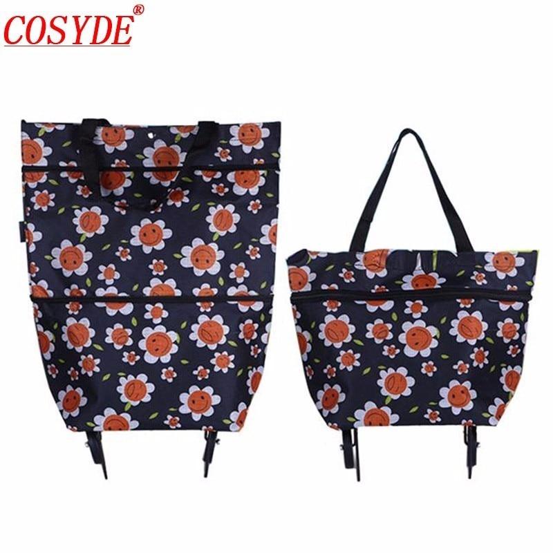 New Women Portable Foldable Shopping Bag On Wheels High Capacity Vegetable Market Bag Large Shopping Bags Reusable Trolley Bag