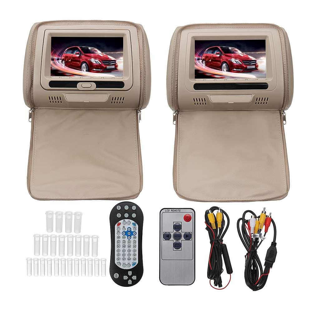 7 pouces DVD + AV Lecteur pour la voiture moniteur appui-tête TFT Écran Numérique télécommande usb/SD/Entrée écran
