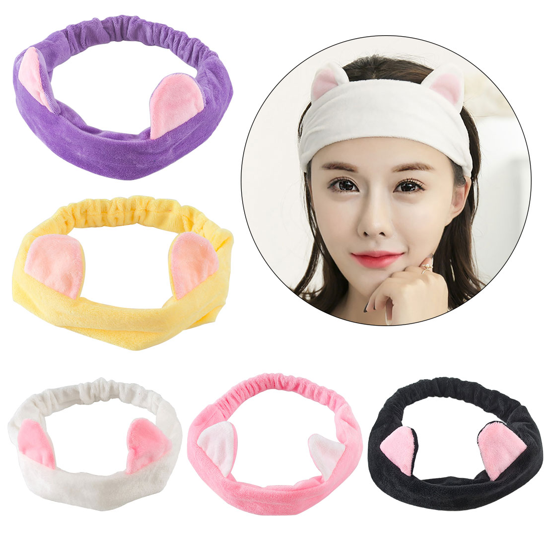 Women Ears Tools Elastic Hair Headbands Party Makeup Hairband Accessories Face Wash Headdress Cute Cat Life