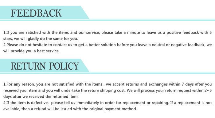 Feedback and Return Policy