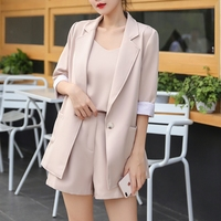 TAOVK Women Blazer Shorts Suits One Button Notched Jackets and Sling Tops and High Waist Short Pant 3 Pcs OL Sets Female Outfits