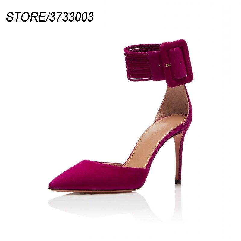 Роскошные замшевые сандалии гладиаторы, Женская пикантная обувь с острым носком, на шпильке, с узким ремешком, с шипами, с пряжкой, обувь для