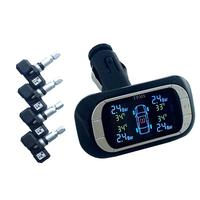 TPMS Wireless Car Tire Pressure Monitoring Cigarette Lighter Power Alarm System With 4 External Sensor Detector Black