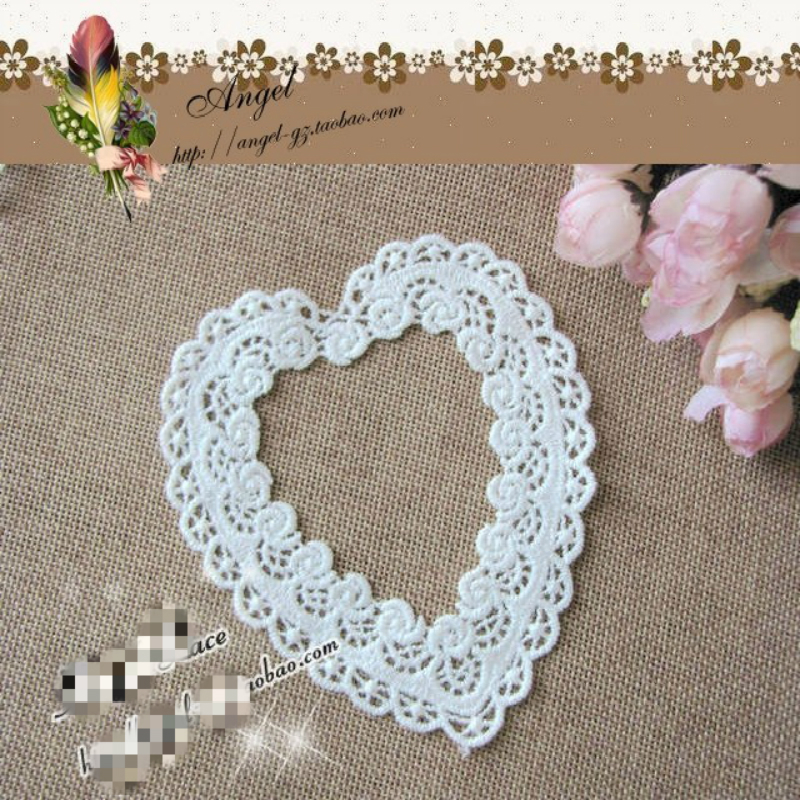 9.2cm Exquisite Organza Hollow Out Heart-shaped Fashion Applique Women's Clothing Collar Wedding Dress DIY Sewing Decoration thumbnail