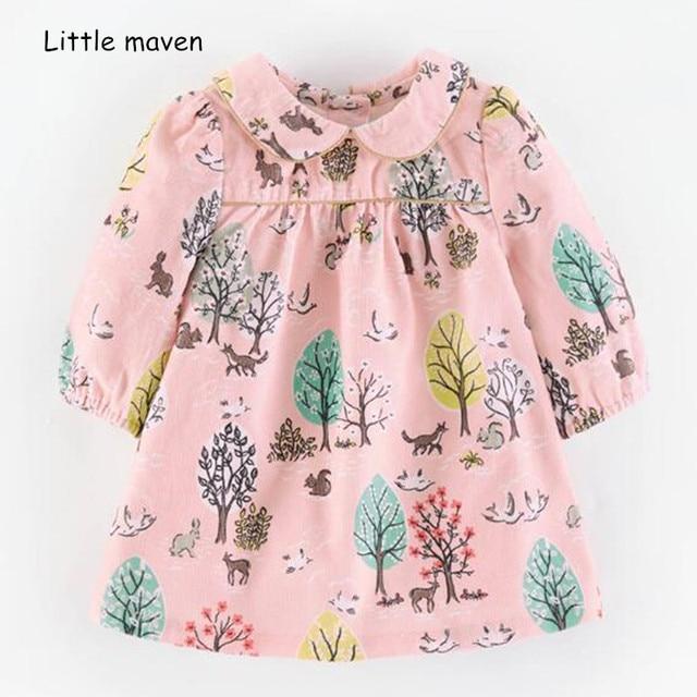 fe0064b7b4080 Little maven kids brand 2018 autumn new design children's dress baby girls  clothes Cotton tree print girl dresses S0410
