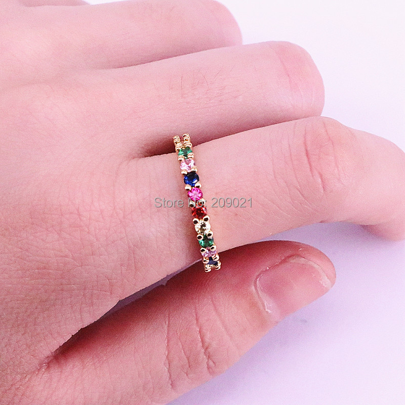10Pcs Skinny Rainbow Personality Bright Fashion Women Jewelry Pave Colorful Zircons Simple delicate Rings in Rings from Jewelry Accessories