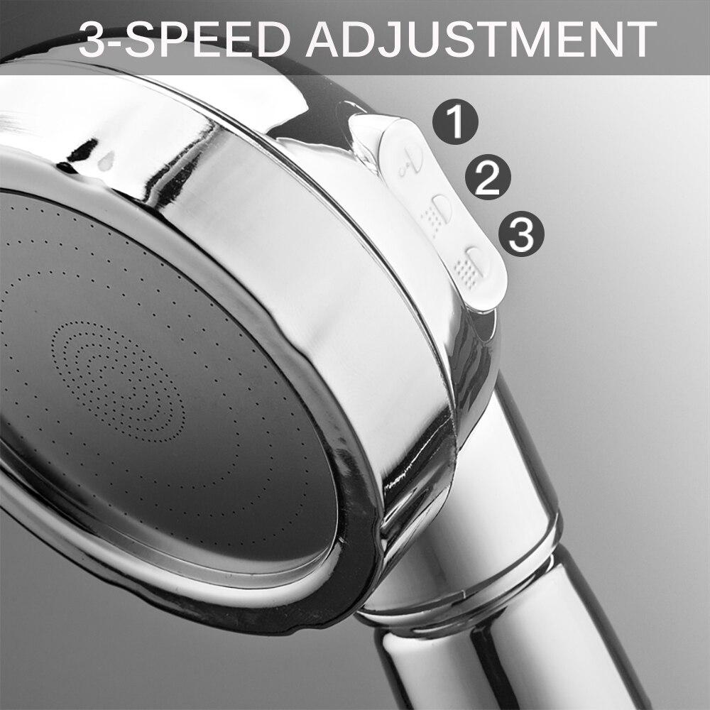 Вращающаяся на 360 градусов насадка для душа, регулируемая водосберегающая насадка для душа, 3 режима, насадка для душа под давлением воды с кнопкой остановки