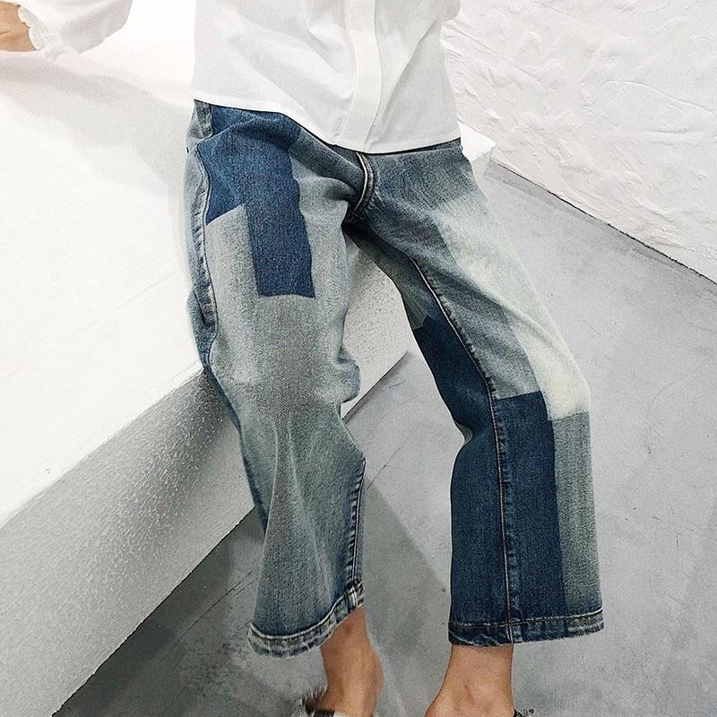 Waist New Oc962 Jeans Casual Pants Leg Shengpalae Spring Wide Button Cowboy Block Loose 2019 Mid Splice Autumn Women Female pTqY51T