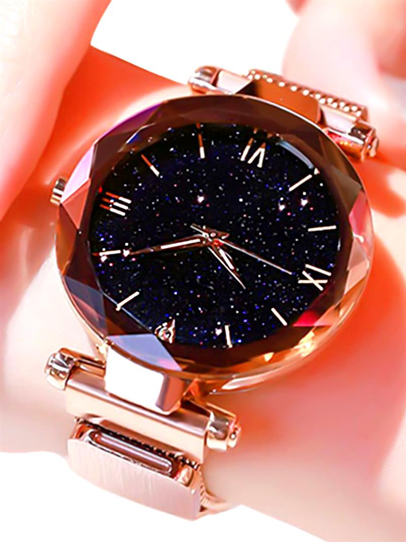 2019 Hot Sale Women Watch Magnetic Lock Mesh Band Stainless Steel Quartz Wristwatch Lady Female Starry Sky Watches