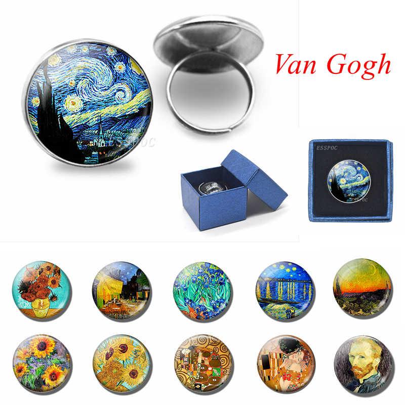 Fashion Seni Van Gogh 20 Mm Cincin Kaca Cabochon Perhiasan Bunga Matahari Malam Berbintang Kerajinan Perak Cincin Wanita Suster Teman Hadiah