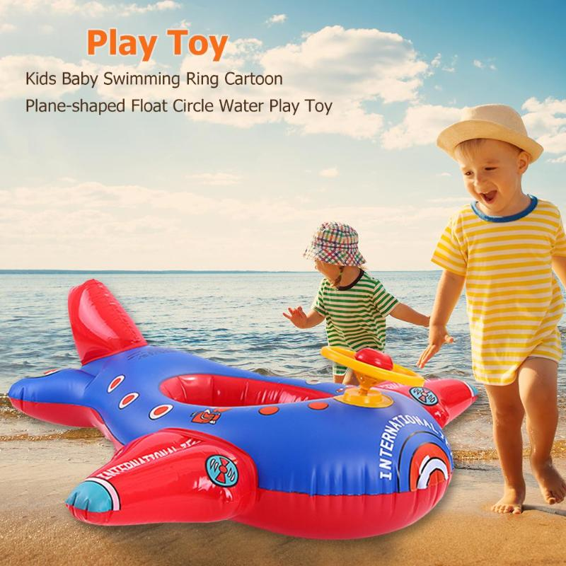Kids Baby Swimming Tool Cartoon Plane-shaped Float Circle Summer Inflatable Water Play Toy Cute Float Seat Pool Aid Trainer Boat