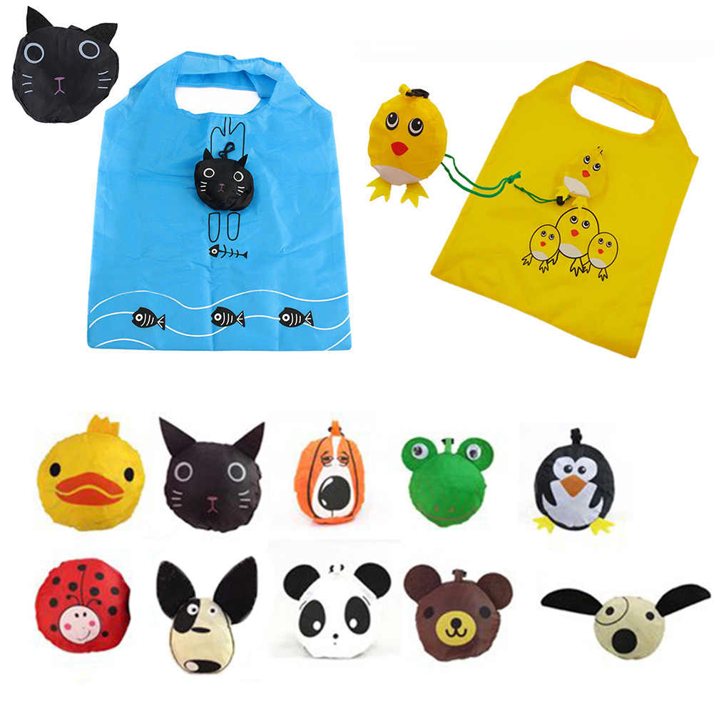1Pc Cute Cartoon Animal Printed Reusable Shopping Bags Travel Foldable Tote Storage Handbag Grab Grocery Eco Bag For Women Girls