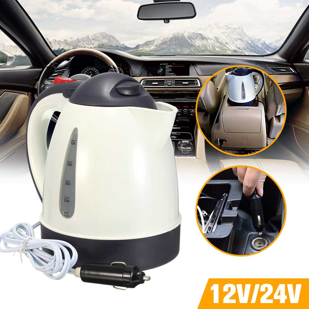 1000ml 304 Stainless Steel Car Kettle Portable Auto Car Water Heater Warmer Travel Mains Kettle 12V/24V For Coffee Hot Tea