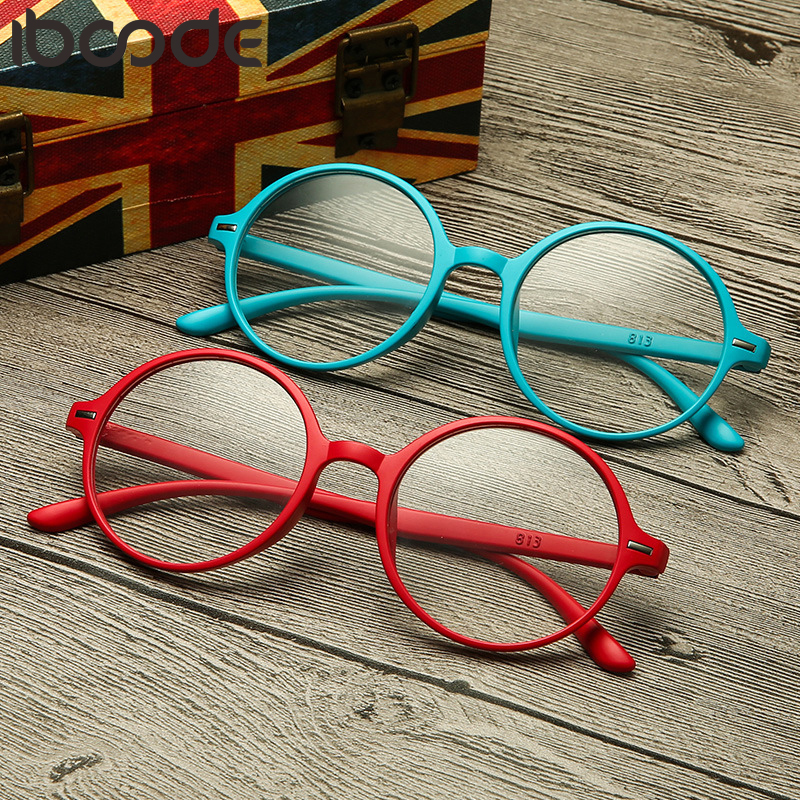 iboode Reading Glasses Men Women TR90 Ultralight Resin Round Frame Hyperopia Presbyopic Eyeglasses Presbyopia Eyewear Unisex New