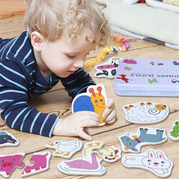 Environmentally Friendly Wooden Cartoon Animal Fruit Vegetable Puzzle Children Smooth Card Toy