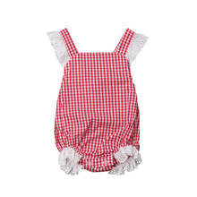 Cute Newborn Baby Bodysuits Plaid Infant Girl Clothes Lace Ruffle Girls Bodysuit Cotton Sleeveless Baby Jumpsuit Toddler Outfits(China)