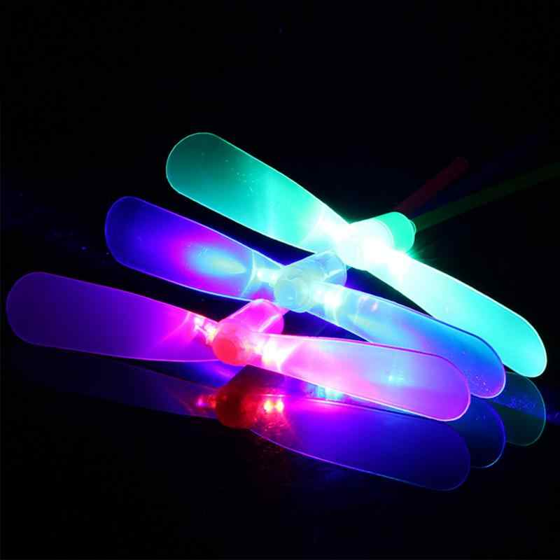Kids Outdoor Hand Push Gifts Toy Outdoor Led Lighting Flying Bamboo Dragonfly Propeller