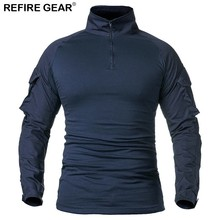Refire Gear Outdoor Navy Blue T Shirt Men Long Sleeve Cotton Sports Fitness Shirt Hiking Fishing Camping Hunting Clothes Shirt radiator grille case for honda civic 4d 2006 2008 2010 abs plastic tuning decor design sports styles car styling car accessories