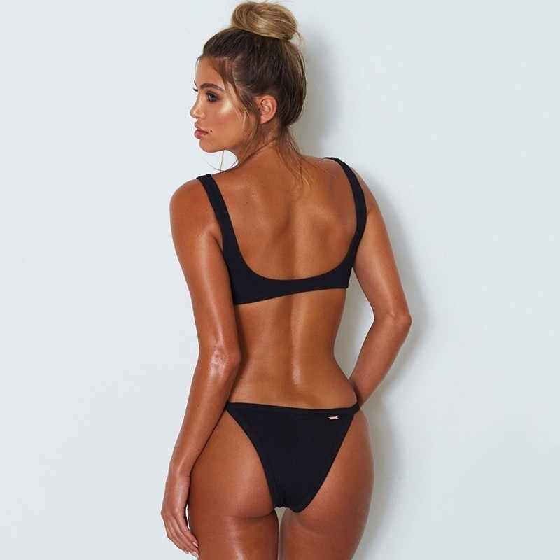 de4d6e4275d ... Seazea Bikinis Brazilian Solid Backless Swimsuit Women Sexy Swimwear  2019 Black Bathing Suit Beach Wear Halter ...