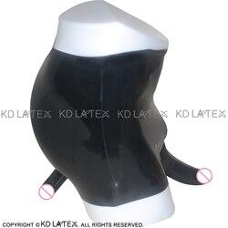 أسود منتصف الخصر ملخصات اللاتكس مع غمد القضيب التشريحي و الواقي الذكري المطاط الملابس الداخلية السراويل قيعان DK-0019