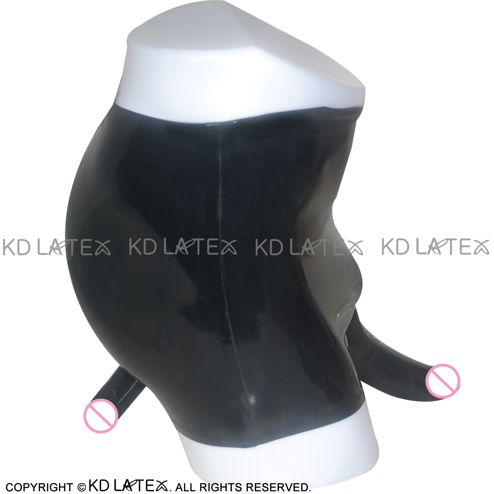 Black Mid Waist Latex Briefs With Anatomical Penis Sheath And Anal Condom Rubber Underwear Shorts Bottoms  DK-0019