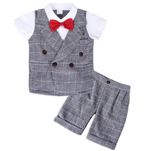 AmzBarley Toddler boy clothes set gentlemen suits formal Bow Tie shirt + pants Boys blazer sets infant wedding birthday
