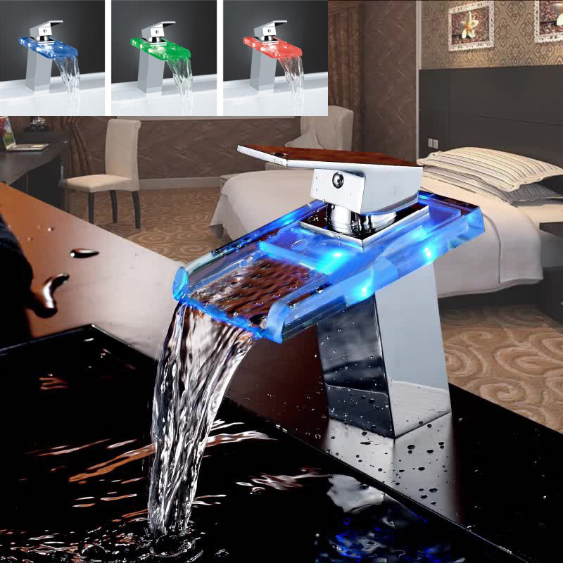 LED Color Changes Glass Waterfall Basin Faucet Bathroom Bath Tub Sink Mixer Tap Single Handle Kitchen Water Faucet Chrome Finish