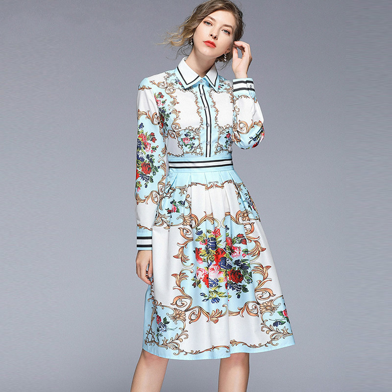 Women's 2019 Runway Floral Maxi Dress Shirt Long Sleeve Robe Angels Horses Print Striped Pleated Holiday Casual Autumn Dress