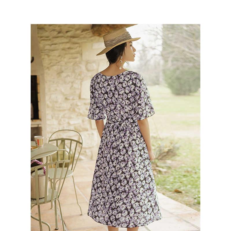 INMAN 2019 Лето Новое поступление v-образный вырез подчеркивающий талию а-силуэт элегантное романтическое женское платье с принтом