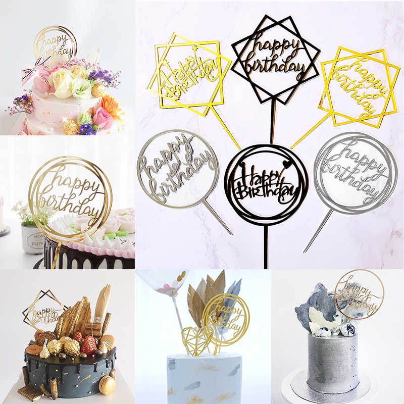 Cupcake Cake Topper Card Fashion Gold Sliver Birthday Decor Love Baking  Cake  Home Happy 1pc New Novelty Acrylic Party Supplies