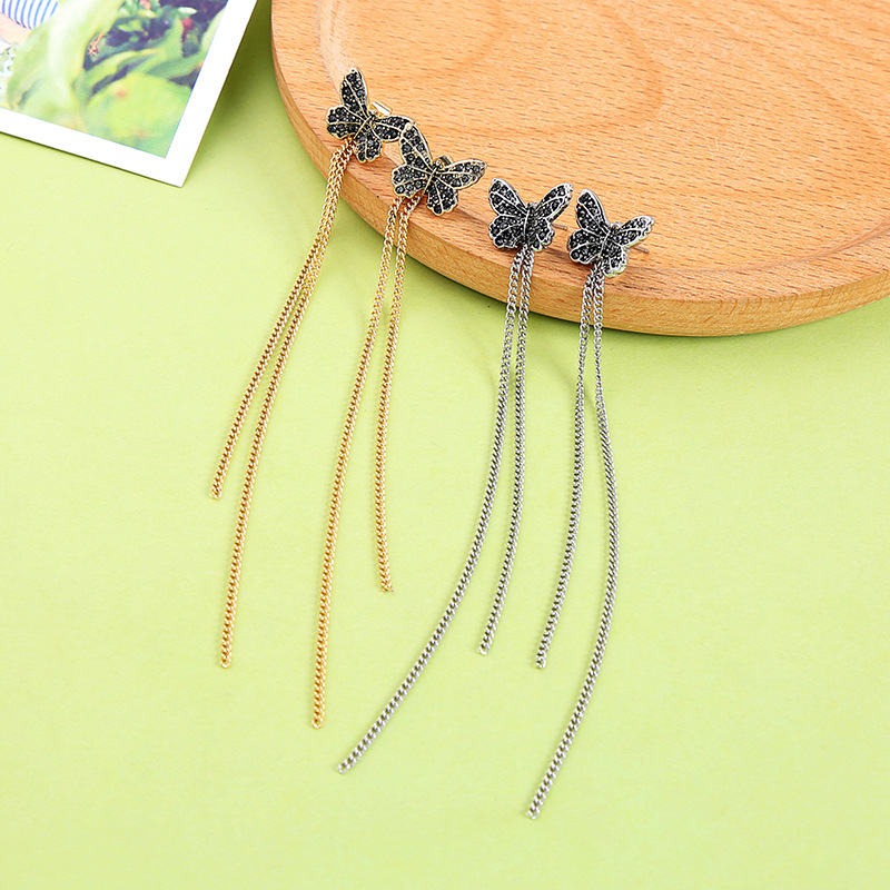 Butterfly New Design Long Tassel Ear Chain Stud Earrings For Women Girl 2018 Bohemian Earring Female Fashion Jewelry