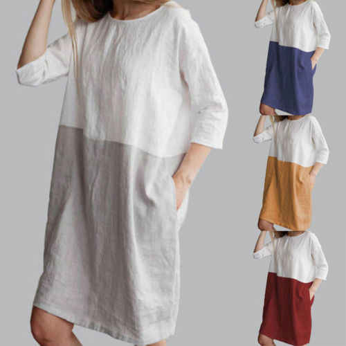 Женская модная повседневная хлопковая льняная одежда со средним рукавом, мешковатые платья-туники с горлом, пляжный сарафан, чистый цвет, серый, красный
