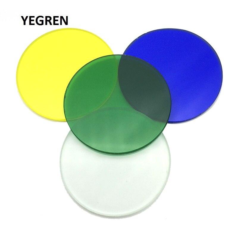 1 חתיכה אופטי מסנן קוטר 32mm שקוף ירוק כחול צהוב חלבית לבן צהוב אופטי זכוכית הביולוגי מיקרוסקופ