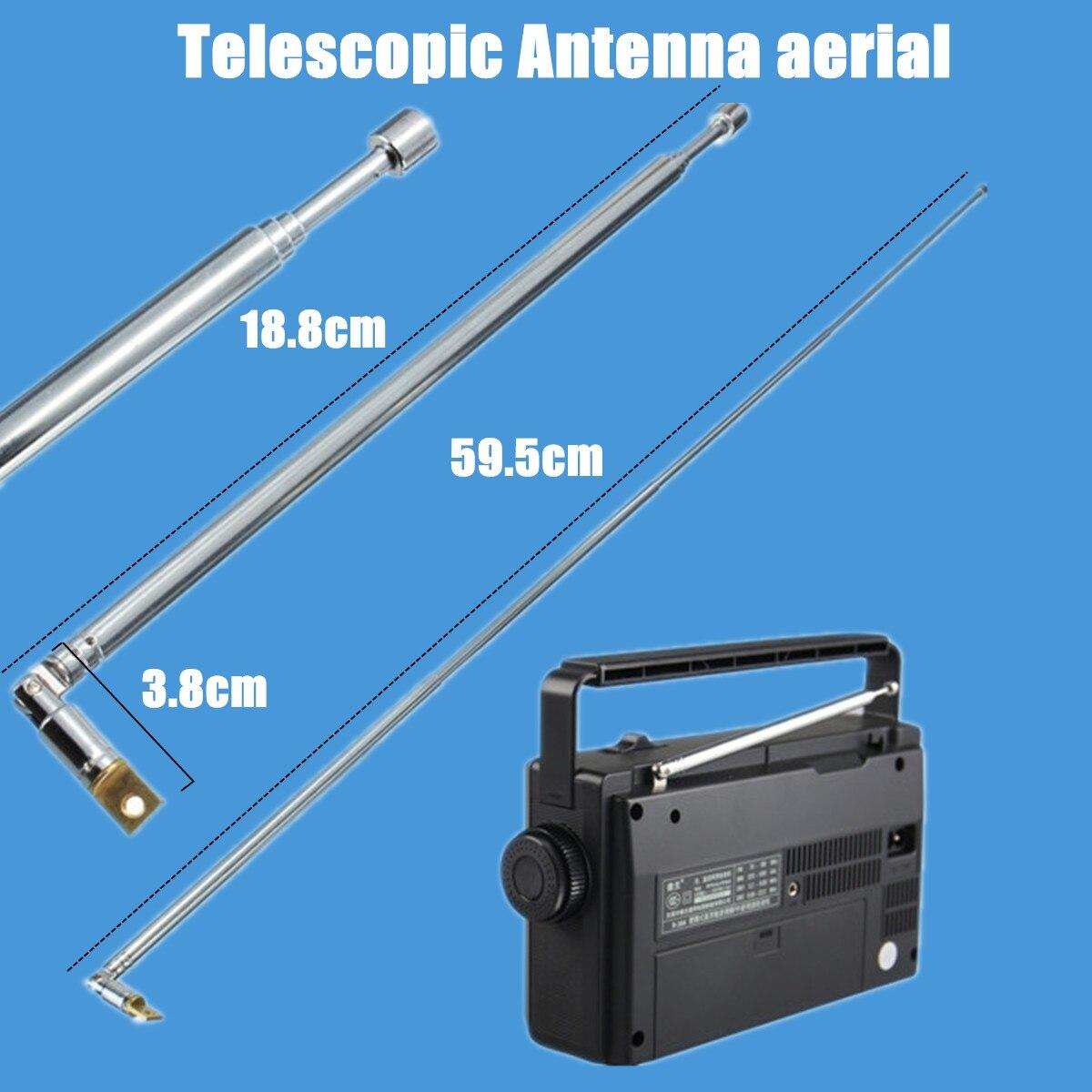 Metal Full-channel AM FM Radio Telescopic Antenna 63cm Length 4 Sections  PN