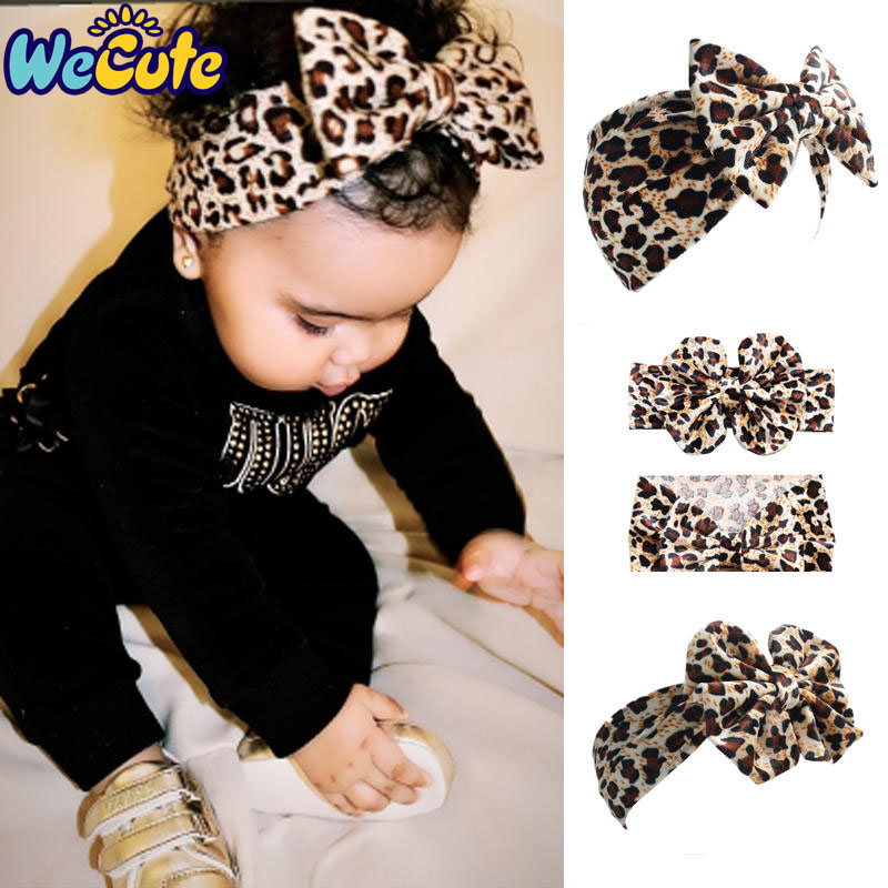 Wecute 2019 European And American Baby Leopard Hair Band Children's Velvet Bow Headband Infant Toddler Headwear Turban