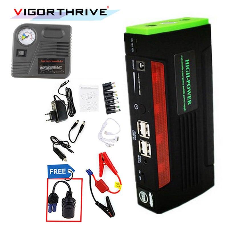 Mini urgence 12 V avec pompe externe Rechargeable voiture batterie externe multi-fonction Portable chargeur de batterie saut démarreur Booster
