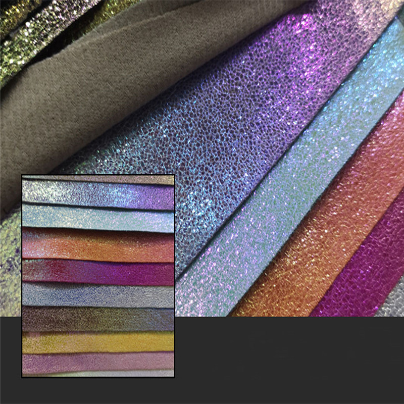 Lychee Life A4 Multicolor Shiny PU Leather Fabric High Quality Gitter Synthetic DIY Sewing Material For Handbag Garments