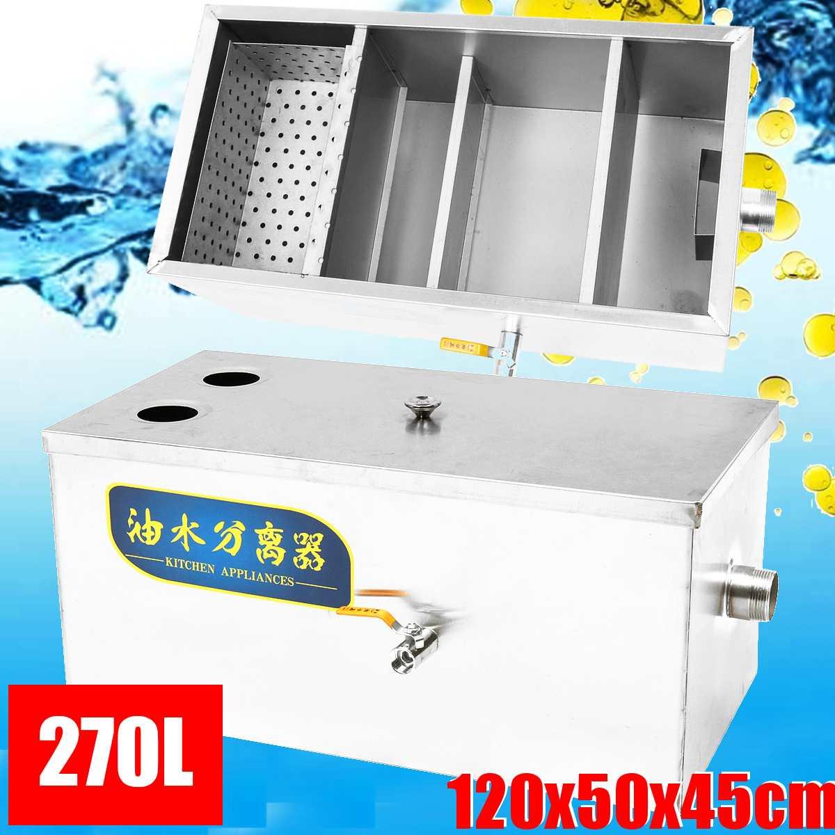 Filtre d'intercepteur d'eaux usées de Restaurant de cuisine d'intercepteur de piège à graisse d'acier inoxydable 270L épaissi Commercial