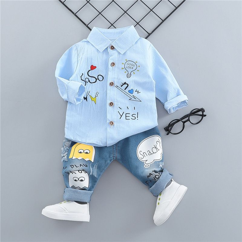 a475c0514 Spring Autumn Baby Boys Clothes Infant Cotton Cartoon Letter T Shirt Pants  2pcs/sets Children Fashion Kids Casual Sport Suits