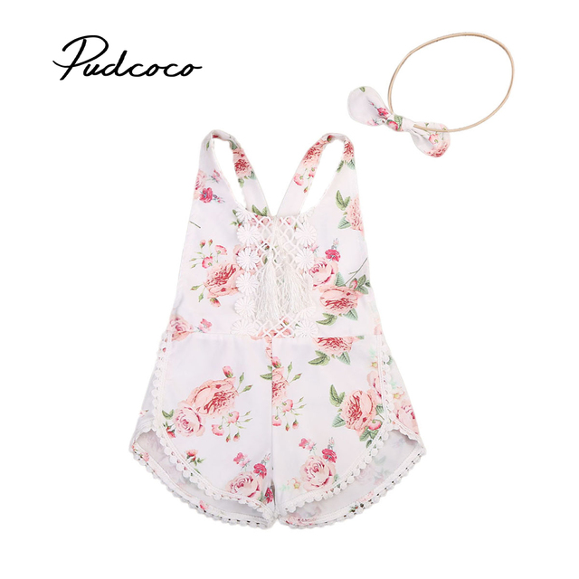 aaaa3fcc456 2019 Brand New Newborn Infant Kids Baby Girl Floral Romper Clothes Jumpsuit  +Headband Outfit Tassel Lace Patch Sunsuit Set 6M-4T