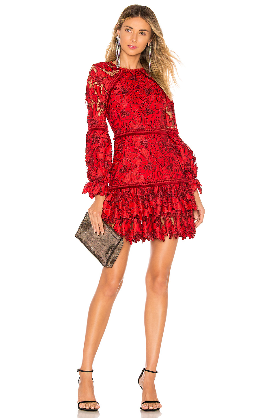 New Lace Red Dress Fashion In Autumn And Winter Party Elegant Christmas Dresses Woman Party Night
