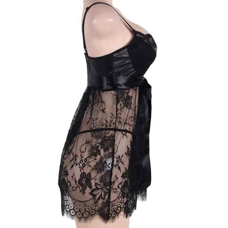 セクシーなエロランジェリー女性のレース中空アウトナイトドレスプラスサイズのスパースターのパジャマ下着ナイトガウン黒 5XL