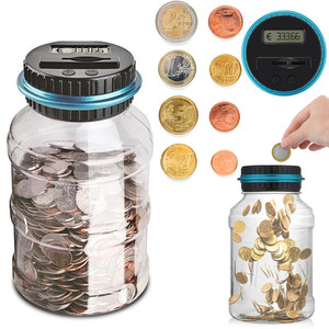 1.5L Piggy Bank Counter Coin Electronic Digital LCD Counting Coin Money Saving Box For EURO Money Jar Coins Storage Box(China)