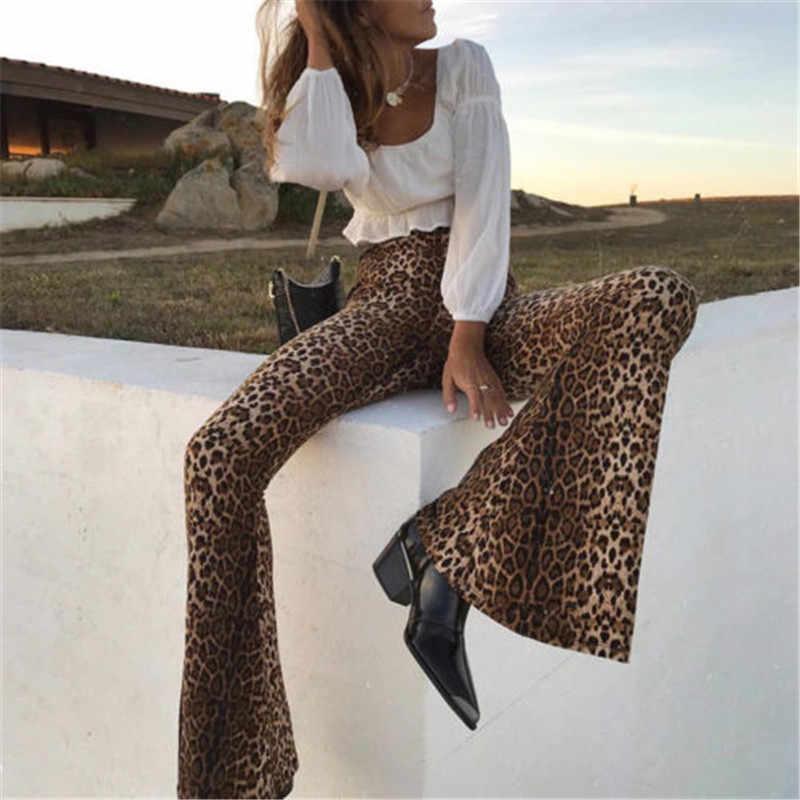 Новые модные женские брюки с леопардовым принтом и высокой талией, женские расклешенные брюки, модная уличная одежда
