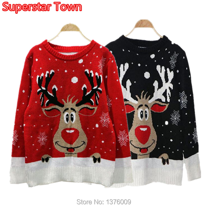 7212db3a50 Womens Ladies Xmas Christmas 2 Reindeer Print Knitted Sweater Jumper
