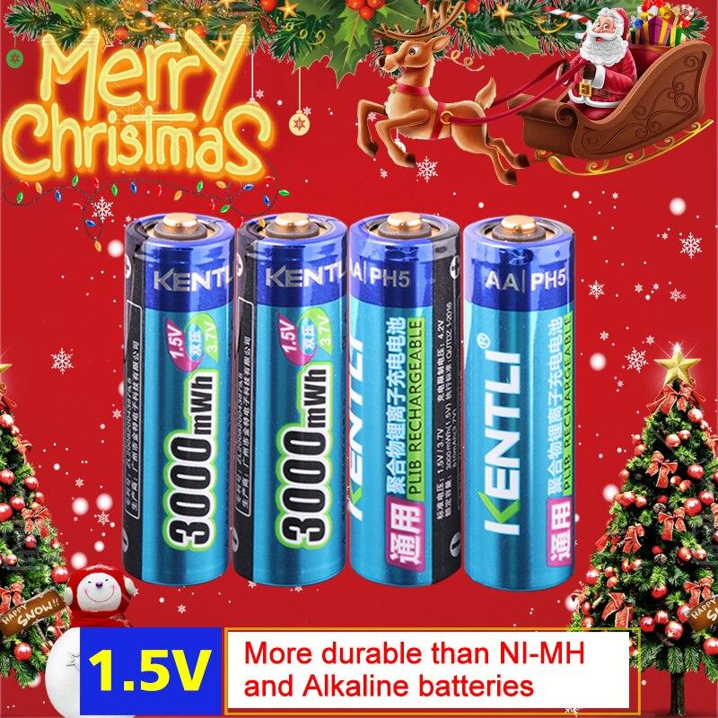 KENTLI 4 teile/los Stabile spannung 3000mWh aa batterien 1,5 v akku polymer lithium li-ion akku für kamera ect