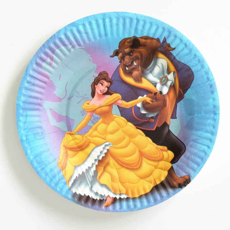 10 pcs/set Lovely paper plate Beauty and the Beast Kids