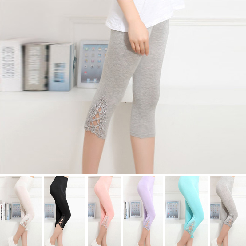 Ladies Women's Summer Slim Sexy Lace Skinny Stretch Trousers   Leggings   Pants